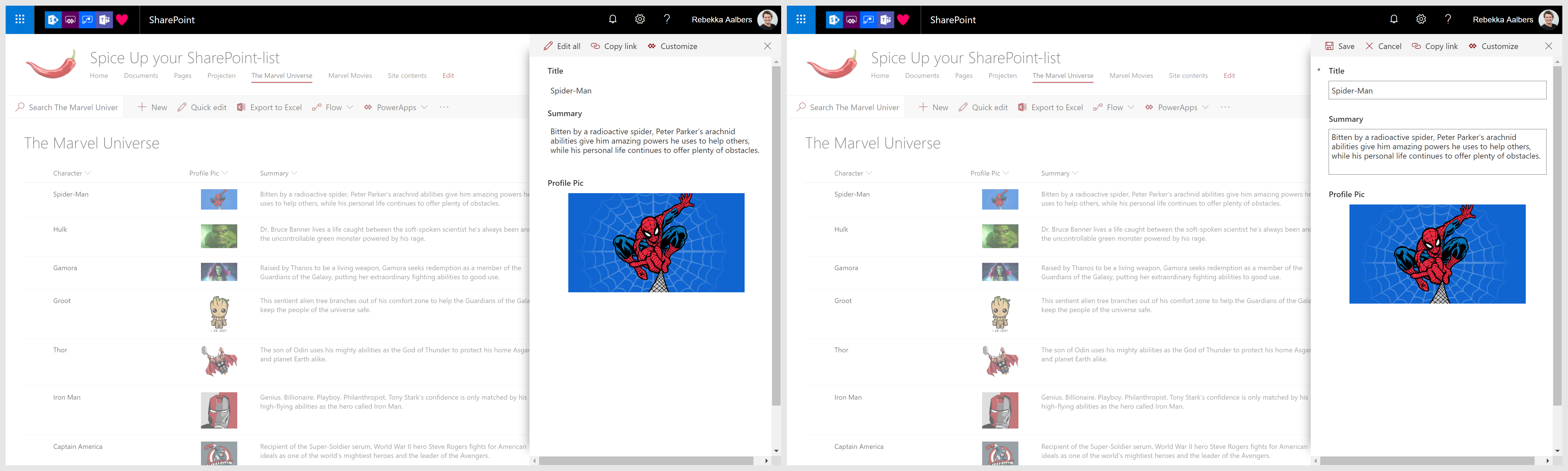 Picture column view and edit in PowerApps form