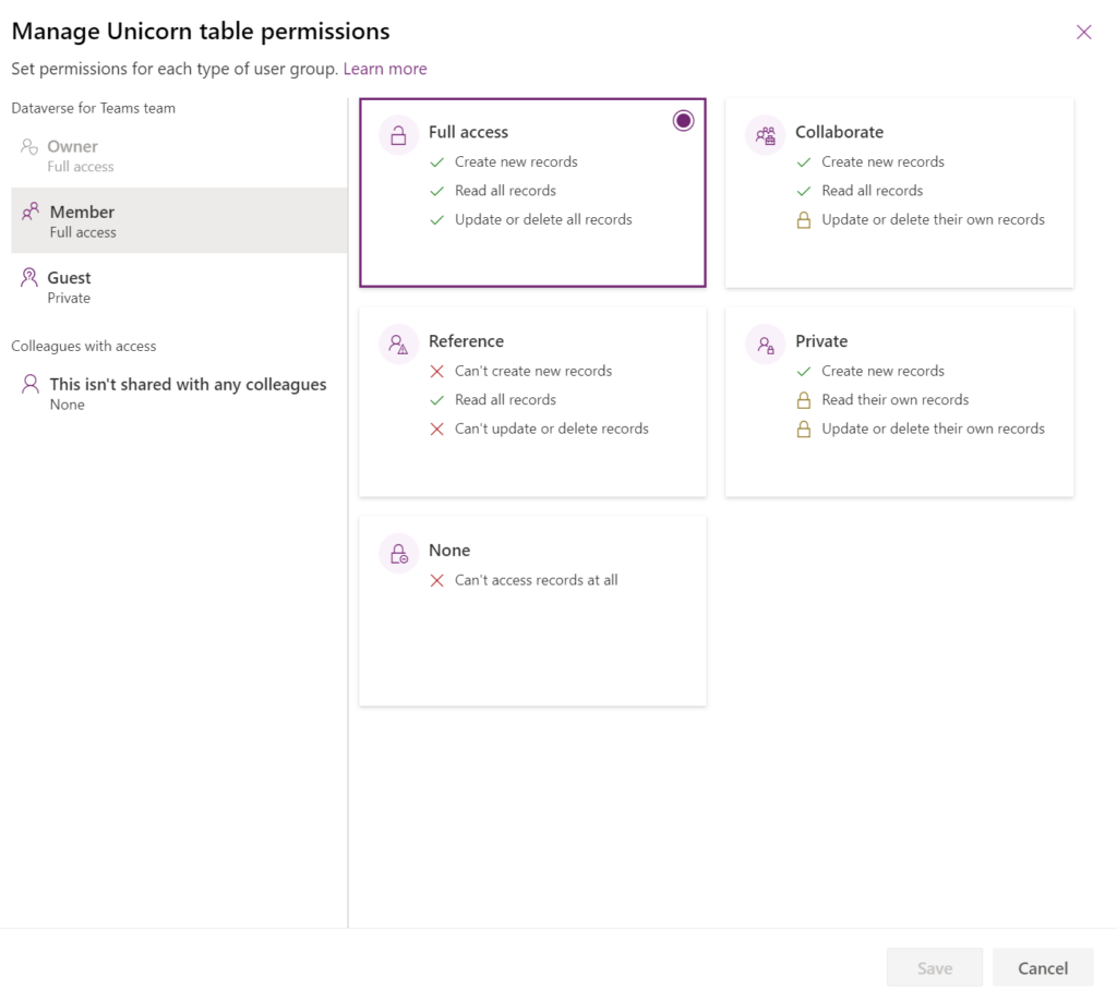 Dataverse for Teams manage permissions pane